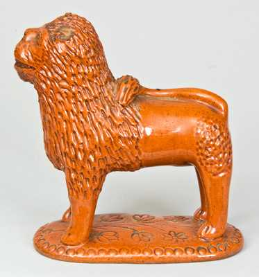 Glazed Redware Figure of a Lion, PA origin.