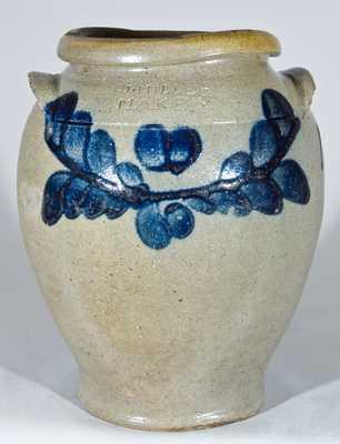 J. MILLER/ MAKER, Strasburg, VA Stoneware Jar Dated 1836