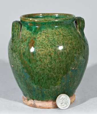 Bristol County, MA Redware Small-Sized Jar with Green Glaze