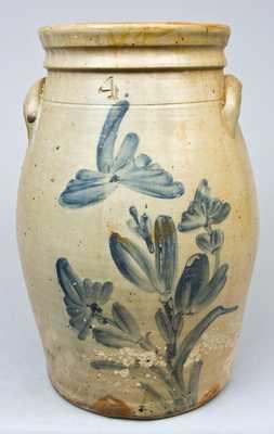 Cobalt-Decorated Stoneware Churn, Northeastern U.S. Origin.
