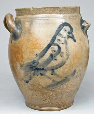 Early NY State Stoneware Jar with Bird Decoration.