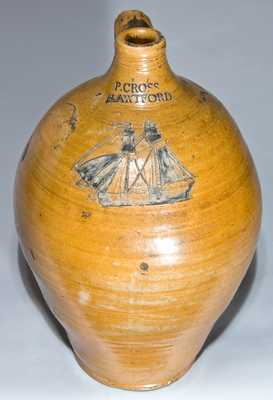 P. CROSS / HARTFORD Stoneware Jug with Incised Ship Decoration