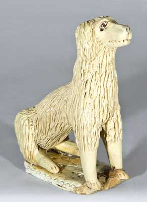Ohio Pottery Figure of a Dog with Cream Glaze