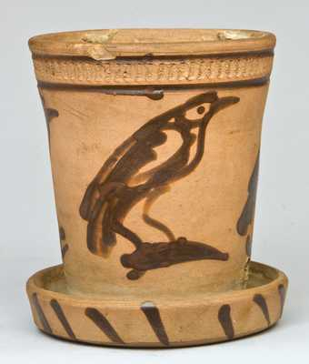 New York Stoneware Tanware Flowerpot with Birds Decoration