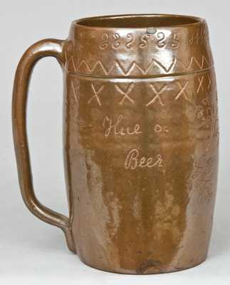 Stoneware Presentation Mug, Albany Slip, Dated 1902