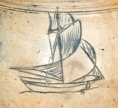 NY Stoneware Early Jar with Incised Sloop, Manhattan origin