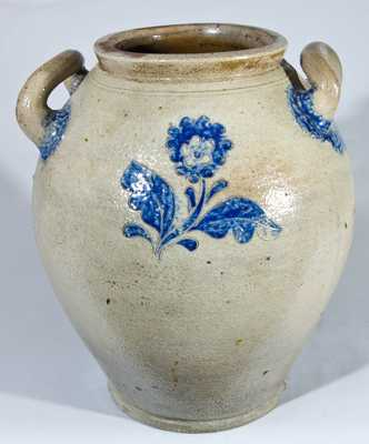 Early Open-Handled Stoneware Jar with Elaborate Incised Floral Decorations, probably NY State, late 18th or early 19th century. H 14