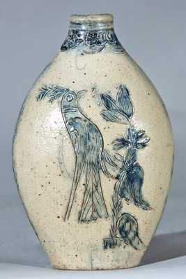 Hartford, CT Stoneware Flask w/ Incised Bird and Flower Basket