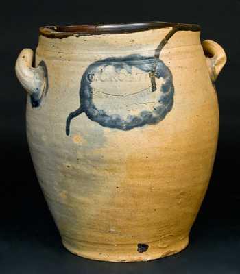 C. CROLIUS / MANUFACTURER / NEW-YORK Stoneware Jar