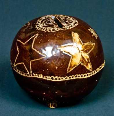 Folk Art Stoneware Bank with Star Decoration