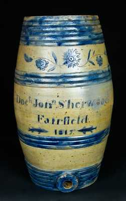 Albany, NY Stoneware Presentation Water Cooler made by the Boyntons for Fairfield, NY Doctor