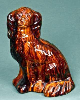 JOHN BELL / WAYNESBORO, Pennsylvania Redware Spaniel Dog
