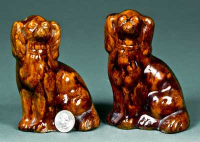 Rare Pair of Glazed Redware Spaniels, probably Pennsylvania