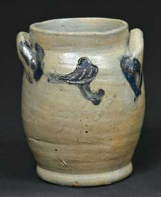 Albany, NY Stoneware Miniature Jar with Incised Bird