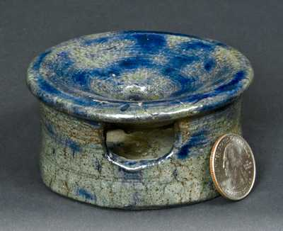Miniature Stoneware Spittoon with Cobalt Decoration