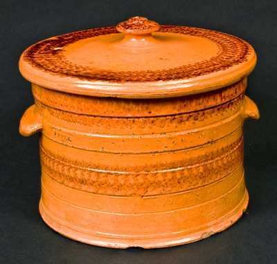 J. BELL (John Bell) Redware Sponged Butter Crock with Lid