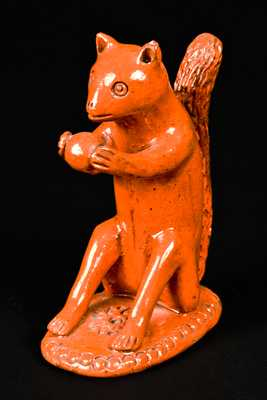 Redware Squirrel-with-Nut Figure