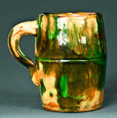Multi-Glazed Redware Mug, Strasburg, VA