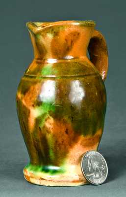 Miniature Strasburg, VA Multi-Glazed Redware Pitcher