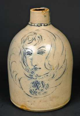 Stoneware Jug with Ornate Incised Decoration of a Woman