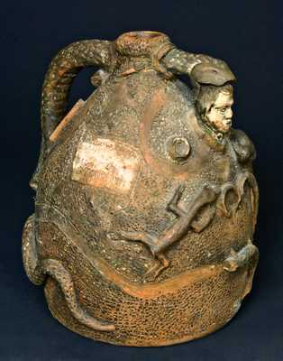 John L. Stone, Kosse, Texas Stoneware Snake Jug, Anna Pottery School