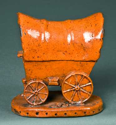 Redware Conestoga Wagon Bank, probably PA