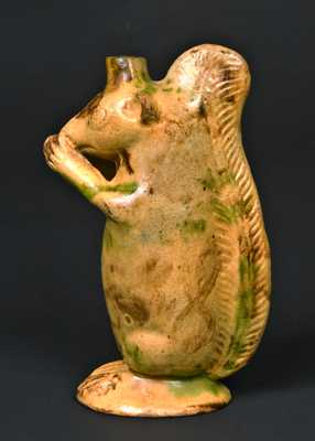 Moravian Redware Squirrel Bottle, attrib. Rudolph Christ, Salem, NC