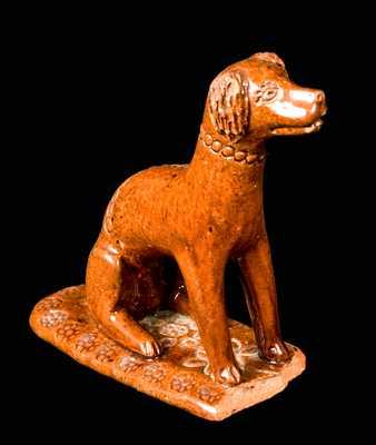 Redware Dog Figure attrib. Solomon Bell, Strasburg, VA
