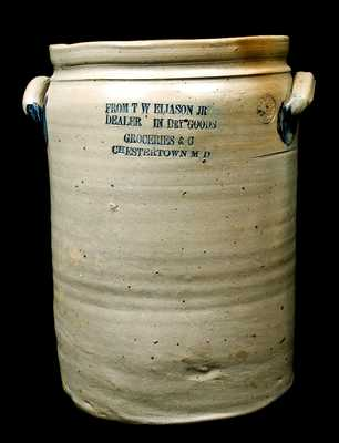 Four-Gal. Peter Herrmann Stoneware Crock w/ Chestertown, MD Advertising
