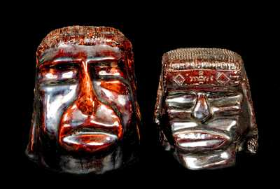 (2) Glazed Pottery American Indian Heads