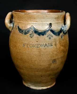 "Open-Handled Stoneware Crock Signed ""Commeraws / Stoneware"""
