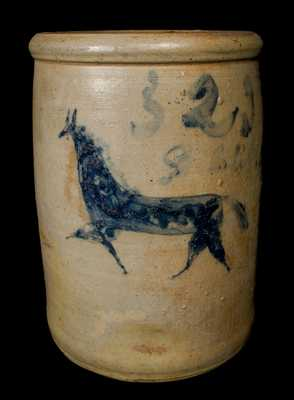 Very Rare Ohio Stoneware Crock with Incised Horse