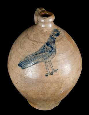 Exceptional Stoneware Jug with Incised Bird, Manhattan, NY