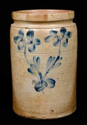 Unusual Baltimore Clover Decorated Stoneware Crock