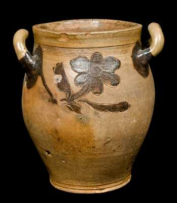 Early Manhattan Stoneware Jar with Manganese Decoration