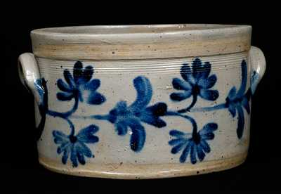 Stoneware Butter Crock with Cobalt Floral Decoration