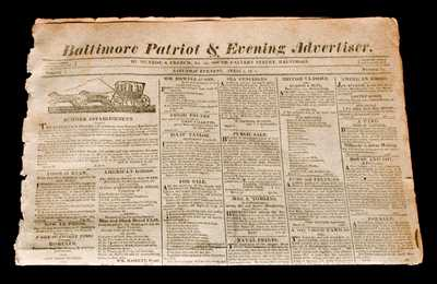 1814 Baltimore Newspaper w/ Henry Remmey Advertisement