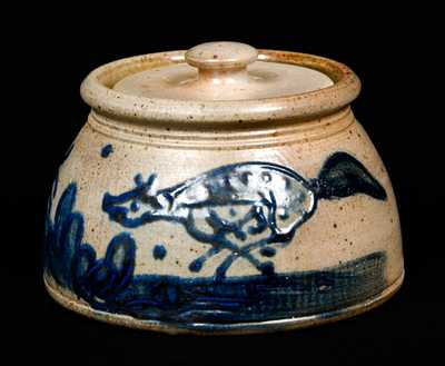 Diebboll Stoneware Lidded Jar with Fox and Rabbit (Contemporary)