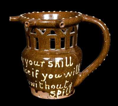 English Redware Puzzle Mug