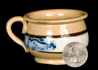 Miniature Yellowware Potty with Mocha Seaweed Decoration