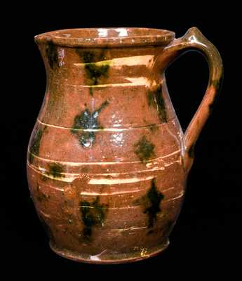 Redware Pitcher with Copper Decoration