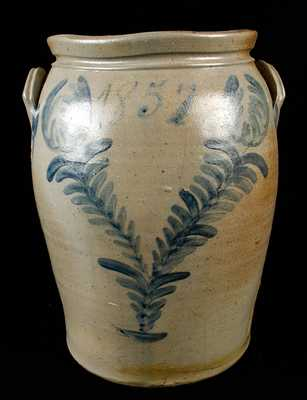 J. SWANK & CO. / JOHNSTOWN, PA 1857 Dated Stoneware Crock
