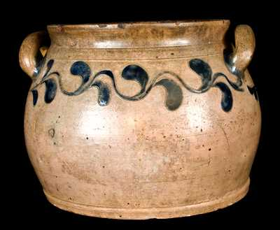 Manhattan Squat Stoneware Jar w/ Incised Decoration