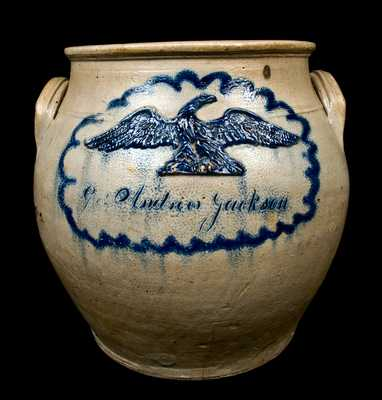 """Gen. Andrew Jackson"" ""17th June 1776"" (Bunker Hill, MA) Stoneware Eagle Jar"