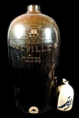 Extremely Large E. M. Ransbottom, Roseville, OH, 1895 Stoneware Jug Cooler