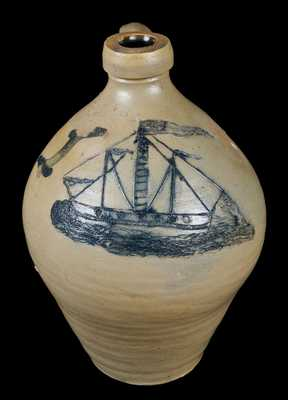 N. CLARK & CO. / MOUNT MORRIS (New York) Stoneware Incised Ship Jug