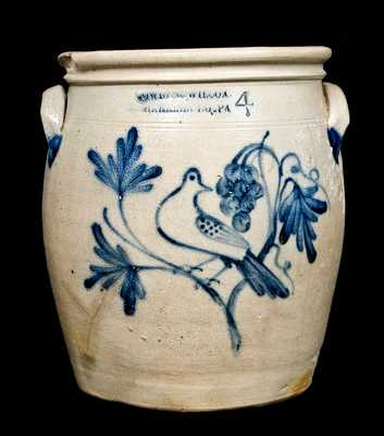 COWDEN & WILCOX / HARRISBURG, PA Stoneware Jar w/ Bird and Grapes