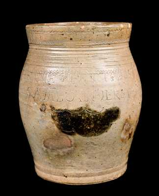 WARNE & LETTS 1806 / S AMBOY N JERSY Stoneware Jar