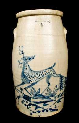 F. WOODWORTH / BURLINGTON, VT Stoneware Churn with Deer