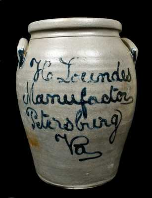 H. Lowndes / Manufactor / Petersburg / Va Stoneware Jar w/